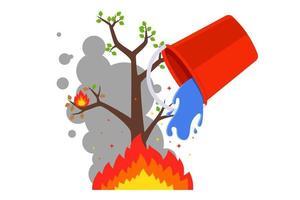 spegnere il fuoco con un secchio d'acqua. incendi boschivi in estate. illustrazione vettoriale piatta.