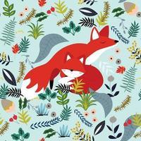 carino baby fox e mamma in fiore seamless pattern vettore