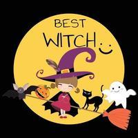 carino dolce strega halloween cartone animato vettore