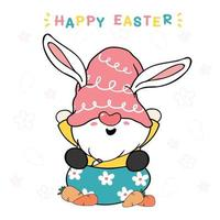 simpatico gnomo coniglietto su uovo con carota, buona pasqua. gnomo in cappello rosa dolce pastello fumetto vettoriale