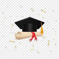 cappello di laurea e rotolo di diploma vettore