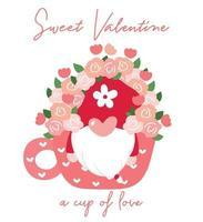 gnomo carino San Valentino in tazza di caffè con fiore, ClipArt di San Valentino dolce, vettore piatto del fumetto per t-shirt stampabile, biglietto di auguri, sublimazione
