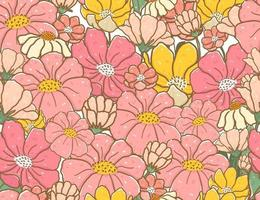 fondo senza cuciture del modello di fiore di scarabocchio di colore pastello d & # 39; annata sveglio