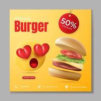 modello di annunci banner di hamburger o cibo vettore