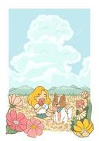 felice estate ragazza e cane avente cono gelato nel campo dei fiori con cielo nuvoloso e montagna sullo sfondo vettore