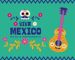 celebrazione del giorno dell'indipendenza del messico con teschio e chitarra vettore