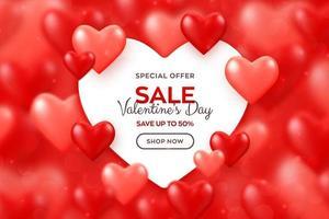 felice banner di vendita di san valentino. brillanti palloncini rossi e rosa sfondo di cuori 3d con striscione di carta a forma di cuore. carta da parati, flyer, poster, brochure, biglietto di auguri. vettore