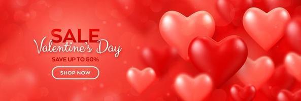 buon San Valentino. banner di vendita di San Valentino con palloncini rossi e rosa sfondo di cuori 3d. carta da parati, flyer, invito, poster, brochure, biglietto di auguri. vettore