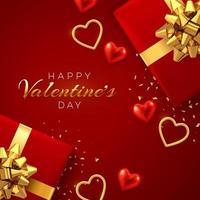 felice modello di banner di san valentino. confezioni regalo realistiche con fiocco dorato e brillanti cuori di palloncini 3d rossi e oro con texture glitter e coriandoli su sfondo rosso. vettore