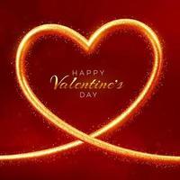felice giorno di San Valentino banner. Cornice dorata a forma di cuore brillante realistico 3D con texture glitterata. carta da parati, flyer, poster, brochure, biglietto di auguri. vettore