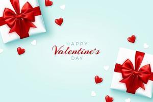 felice banner di san valentino. scatole regalo realistiche con fiocco rosso e brillanti cuori di palloncini 3d rossi e cuori di carta bianca su sfondo blu. vista piana, vista dall'alto, copia dello spazio.
