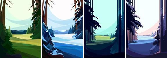 raccolta di foreste di conifere vettore