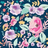 fiore selvatico su sfondo blu seamless pattern vettore