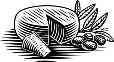 illustrazione vettoriale in bianco e nero di un pezzo di formaggio in stile incisione su sfondo bianco
