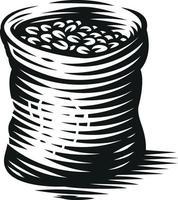 illustrazione vettoriale in bianco e nero di un sacchetto di chicchi di caffè su sfondo bianco