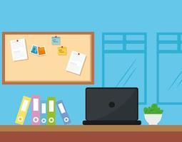 scena del posto di lavoro con laptop e icone