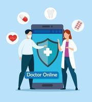 medico tecnologia online con smartphone e icone