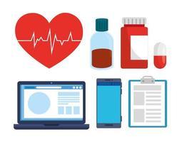 set di icone mediche con dispositivi vettore