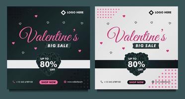 felice banner di vendita di san valentino, modello di post sui social media con sfondo scuro e grigio