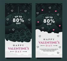 felice modello di banner di vendita di san valentino con sfondo scuro e grigio