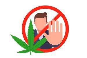 segno di divieto di fumo di marijuana. smettere di droghe. illustrazione vettoriale piatta.