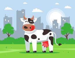 mucca carina si trova su un prato verde sullo sfondo della città. illustrazione di carattere vettoriale piatto.