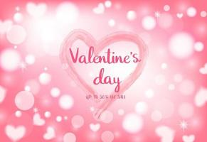 14 febbraio celebrazione di San Valentino su sfondo bokeh di cuore leggero.