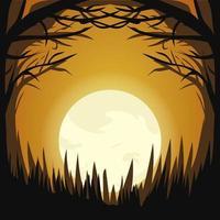 disegno della foresta della luce della luna scura di halloween