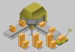 imballaggio in cartone processo isometrico vettoriale, concetto di fabbrica di produzione del prodotto
