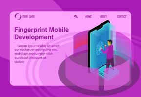 impronta digitale di programmazione sullo sviluppo mobile, concetto di illustrazione vettoriale isometrica