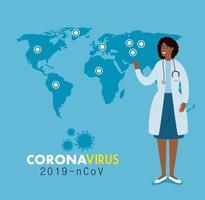 medico per uno striscione di coronavirus