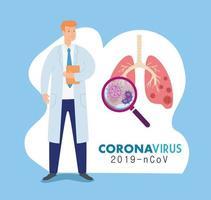 dottore con i polmoni per uno striscione di coronavirus