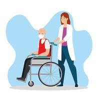 vecchio su una sedia a rotelle con il medico