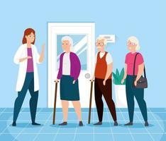 persone anziane che parlano con un medico