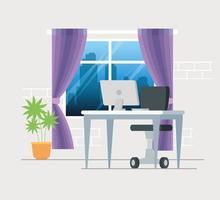 posto di lavoro con sfondo scrivania e computer vettore
