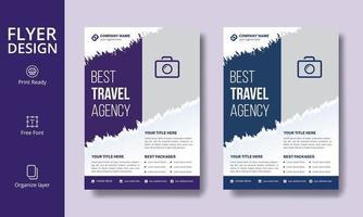 design creativo di volantini da viaggio effetto pennello blu e viola
