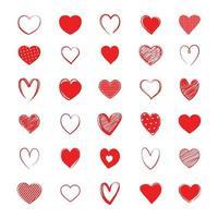set di simboli del cuore rosso. amore icona disegnata a mano isolati su sfondo bianco.