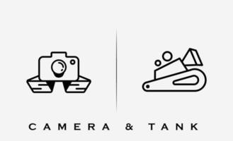 illustrazione di vettore di progettazione di logo del carro armato militare della macchina fotografica
