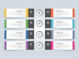 8 modello di indice di carta scheda infografica dati. illustrazione vettoriale sfondo astratto. può essere utilizzato per il layout del flusso di lavoro, passaggio aziendale, banner, web design.