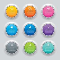 pulsante cerchio infografica con 9 modelli di dati. illustrazione vettoriale sfondo astratto. può essere utilizzato per il layout del flusso di lavoro, passaggio aziendale, banner, web design.