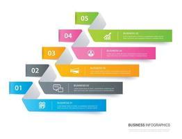 scheda infografica nell'indice cartaceo orizzontale con 5 modelli di dati. illustrazione vettoriale sfondo astratto. può essere utilizzato per il layout del flusso di lavoro, passaggio aziendale, banner, web design.