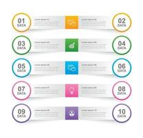 scheda infografica nell'indice cartaceo orizzontale con 10 modelli di dati. illustrazione vettoriale sfondo astratto. può essere utilizzato per il layout del flusso di lavoro, passaggio aziendale, banner, web design.