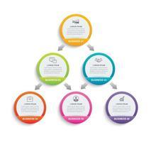 carta cerchio infografica con 6 modelli di dati. illustrazione vettoriale sfondo astratto. può essere utilizzato per il layout del flusso di lavoro, passaggio aziendale, brochure, volantini, banner, web design.