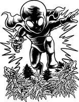 un alieno che attacca un giardino di cannabis vettore