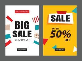 set di modelli di banner di vendita. illustrazioni vettoriali per poster, acquisti da dispositivi mobili, design di email e newsletter, annunci.