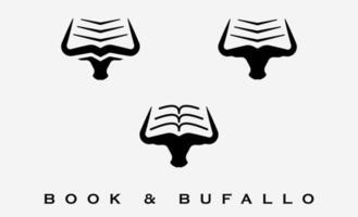bufalo e libro logo design illustrazione vettoriale
