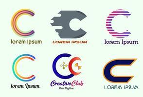 lettera creativa c logo design, icona e simbolo, modello di progettazione di logo di vettore