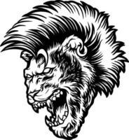 leone arrabbiato con illustrazione di capelli mohawk vettore