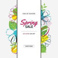 modello di manifesto di vendita di primavera con sfondo di fiori colorati. può essere utilizzato per voucher, carta da parati, volantini, invito, brochure, coupon di sconto.