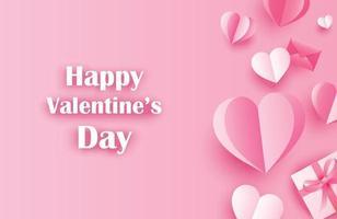 auguri di buon san valentino con cuori di carta su sfondo rosa pastello.